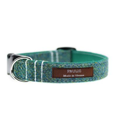 Hundehalsband von Paulis Hundeausstatter aus Harris Tweed in tannengrün-blau