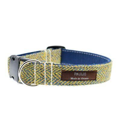Hundehalsband von Paulis Hundeausstatter | Harris Tweed | Fischgrät | Gelb-Blau