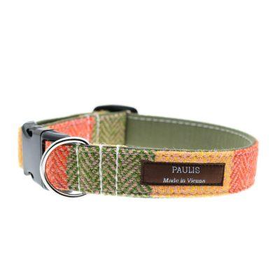 Hundehalsband von Paulis Hundeausstatter | Harris Tweed | Fischgrät | Grün-Gelb-Orange