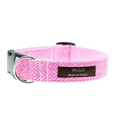 Hundehalsband von Paulis Hundeausstatter | Harris Tweed | Fischgrät | Pink-Rosa