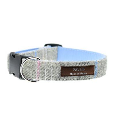 Hundehalsband von Paulis Hundeausstatter | Harris Tweed | grau-rosa-hellblau