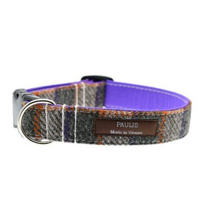 Hundehalsband von Paulis Hundeausstatter | Harris Tweed | graubraun-violett