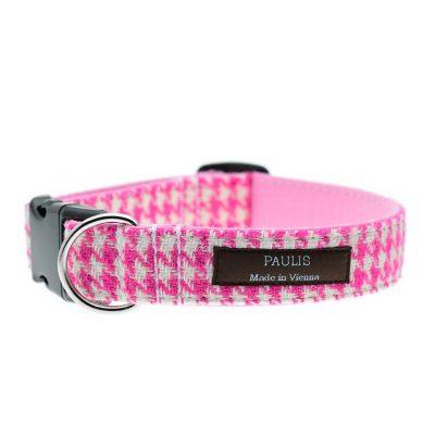 Hundehalsband von Paulis Hundeausstatter | Harris Tweed | Hahnentritt | Pink-Rosa