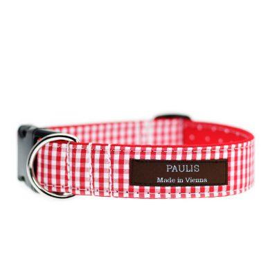 Paulis Hundeausstatter, Hundehalsband aus Baumwolle, Weihnachtskollektion - Karo & Dots - Rot