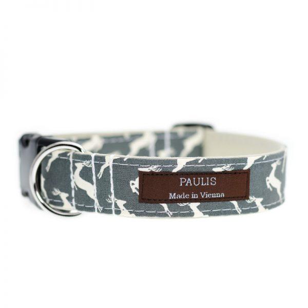 Paulis Hundeausstatter, Hundehalsband aus Baumwolle, Weihnachtskollektion - Hirsch - Grau - Beige