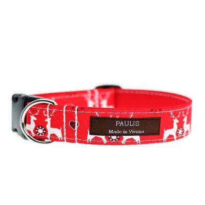 Paulis Hundeausstatter, Hundehalsband aus Baumwolle, Weihnachtskollektion - Hirsch & Herz