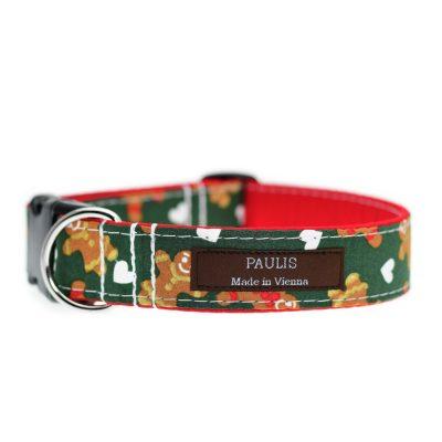 Paulis Hundeausstatter, Hundehalsband aus Baumwolle, Weihnachtskollektion - Lebkuchenmann