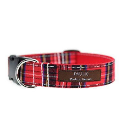 Paulis Hundeausstatter, Hundehalsband aus Baumwolle, Weihnachtskollektion - Schottenkaro
