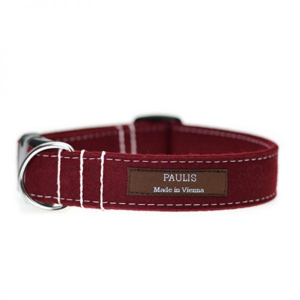 Hundehalsband von Paulis Hundeausstatter | Loden | Weinrot
