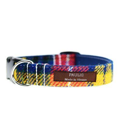 Hundehalsband von Paulis Hundeausstatter aus Harris Tweed in blau-gelb-rot