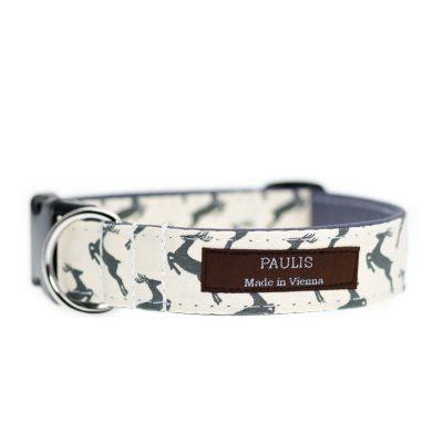 Paulis Hundeausstatter, Hundehalsband aus Baumwolle, Weihnachtskollektion - Hirsch - Beige - Grau