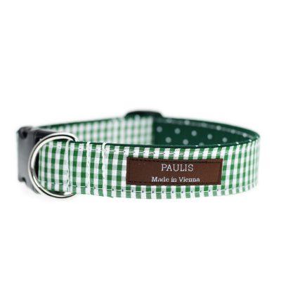 Paulis Hundeausstatter, Hundehalsband aus Baumwolle, Weihnachtskollektion - Karo & Dots - Grün