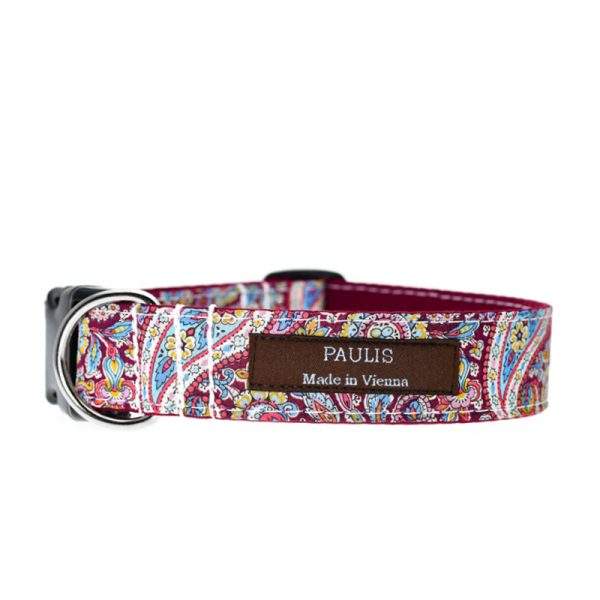 Paulis Hundeausstatter, Hundehalsband, Liberty London, Emma and Georgina Tana Lawn Cotton maroonered