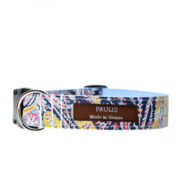 Paulis Hundeausstatter, Hundehalsband, Liberty London, Felix and Isabelle Tana Lawn Cotton Light/Blue
