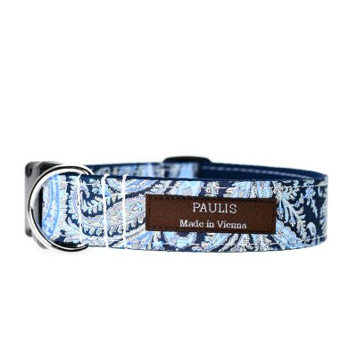 Paulis Hundeausstatter, Hundehalsband, Liberty London, Felix and Isabelle Tana Lawn Cotton darkblue/lightblue