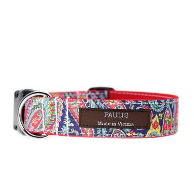 Paulis Hundeausstatter, Hundehalsband, Liberty London, Felix and Isabelle Tana Lawn Cotton red/darkblue