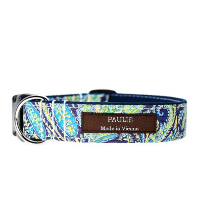 Paulis Hundeausstatter, Hundehalsband, Liberty London, Felix and Isabelle Tana Lawn Cotton turquoise/darkblue