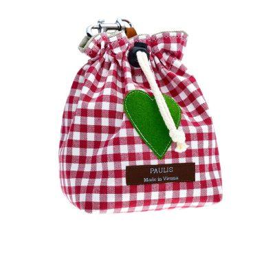 Paulis Hundeausstatter, Leckerlibeutel aus Baumwolle in Karo rot