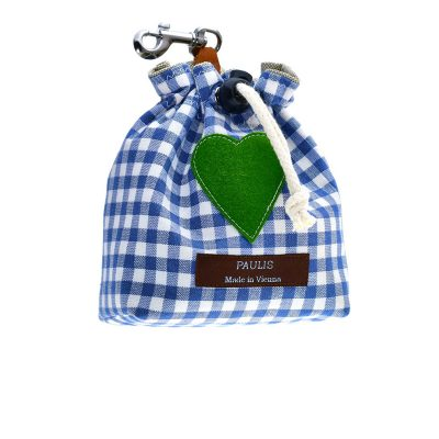 Paulis Hundeausstatter, Leckerlibeutel aus Baumwolle in Karo blau